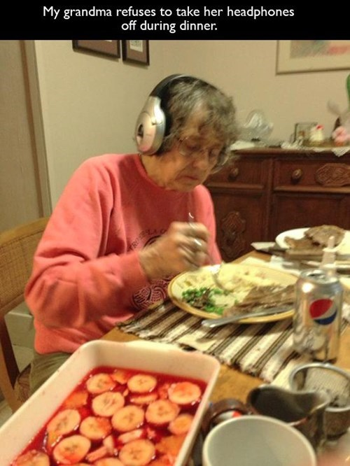 headphones,grandma,grandparents,parenting