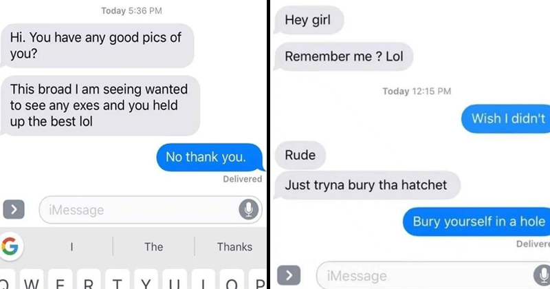 Cringey texts from exes, booty call, texting, funny texts.