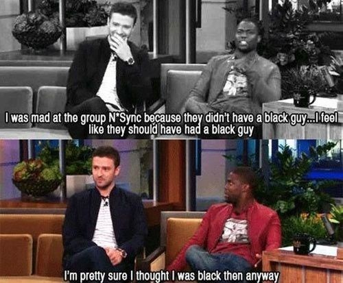 black,Justin Timberlake,kevin hart,nsync