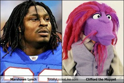 hair totally looks like clifford the muppet marshawn lynch funny