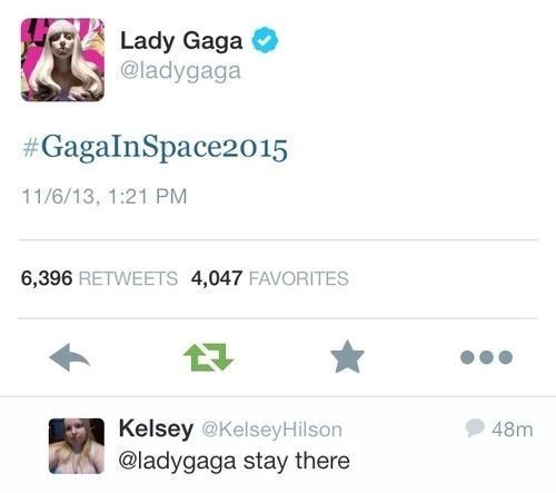 lady gaga,space,celebrity twitter