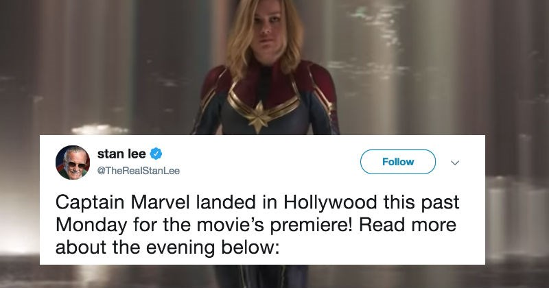 tweets reacting to marvel using stan lee's twitter to promote captain marvel