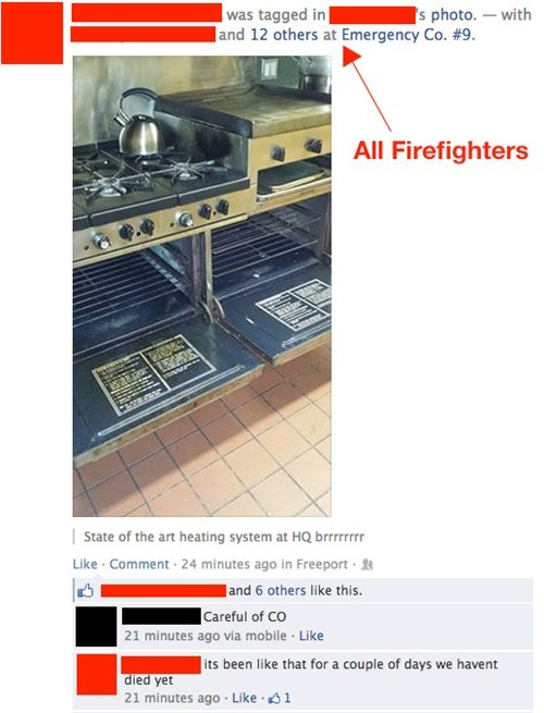 firefighters ovens makeshift heating