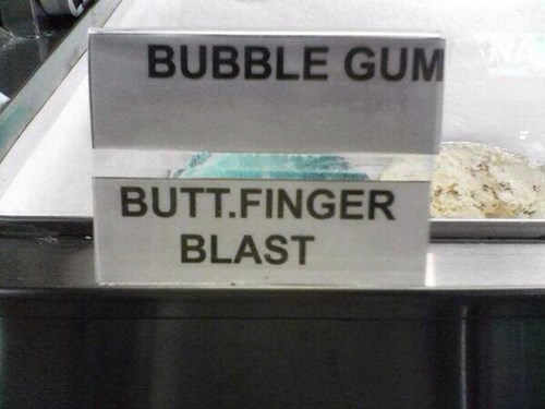 bubble gum,ice cream,fingerblasting