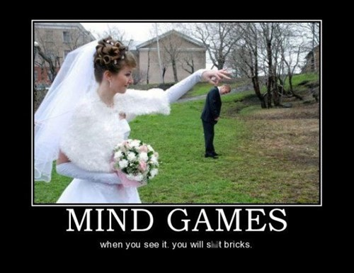 bride groom mind games wedding funny