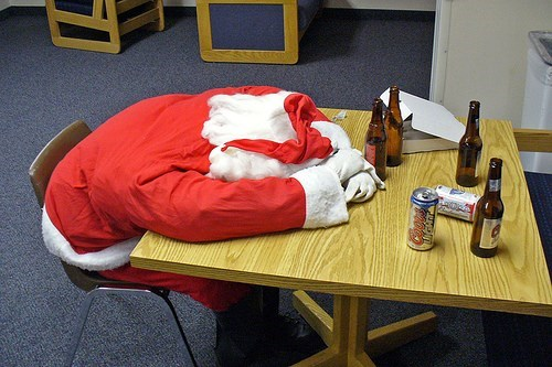 drunk holiday funny Party passed out santa - 7899465984