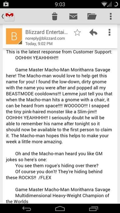 blizzard customer support video games macho man randy savage