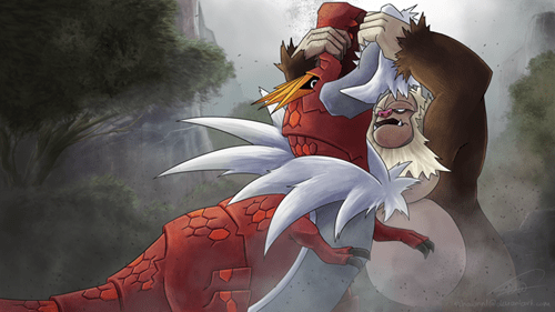 Pokémon art king kong tyrantrum slaking - 7899547904