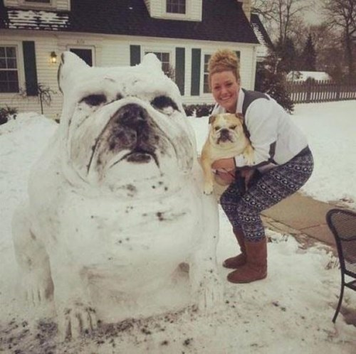 dogs snow statue art bulldogs
