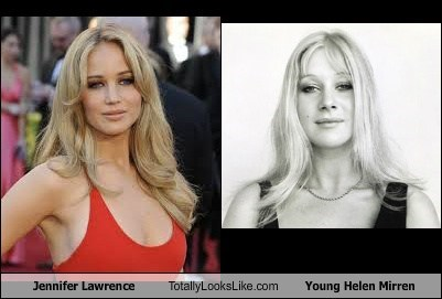 funny helen mirren jennifer lawrence totally looks like
