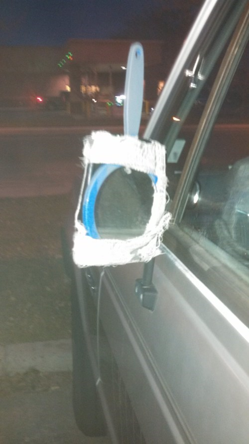 side mirror,cars,duct tape,there I fixed it