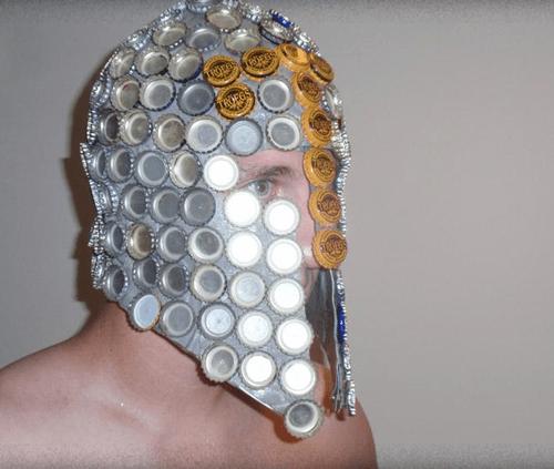 beer,armor,bottle caps,funny,helmet