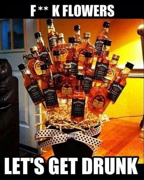 Thursday meme with pic of a bouquet of Jack Daniels bottle