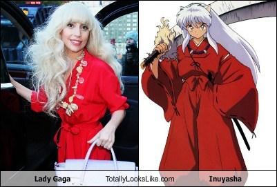 lady gaga,funny,totally looks like,inuyasha