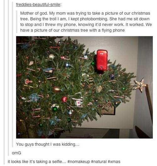 photobomb christmas trees selfie - 7901340672
