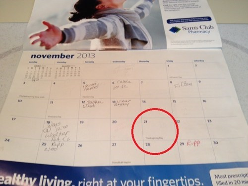calendar,there I fixed it,thanksgiving