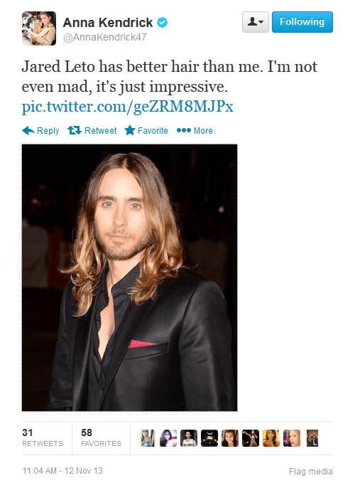 anna kendrick,jared leto,celebrity twitter