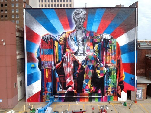 abraham lincoln,funny,graffiti,hacked irl