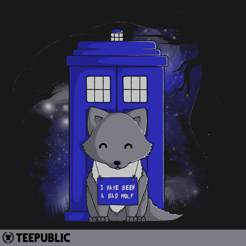 bad wolf,doctor who,dog shaming,for sale,t shirts