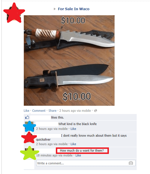 for sale,knives,reading comprehension