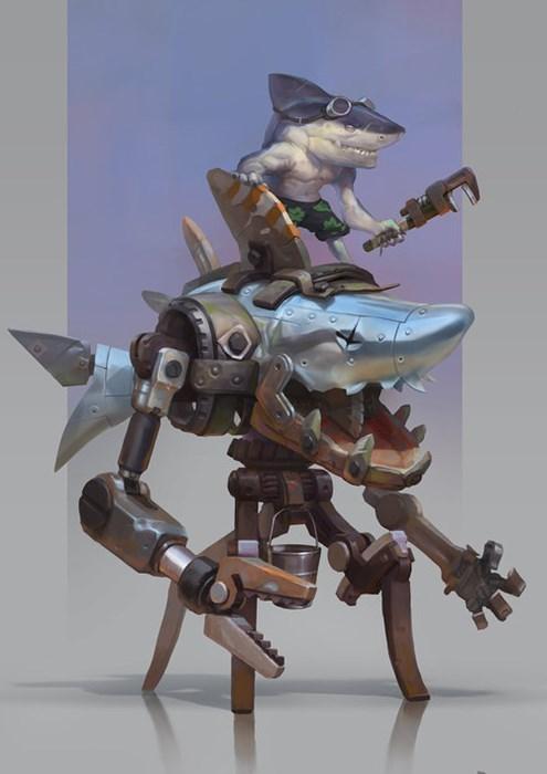 funny sharks robots wtf - 7906671872