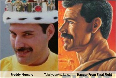 haggar,freddy mercury,totally looks like,final fight