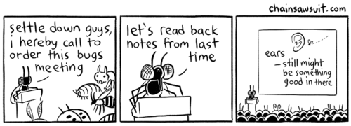 meetings,bugs,web comics