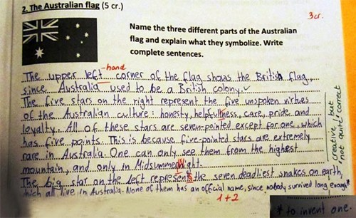 australia flag kids funny homework g rated School of FAIL - 7908180224