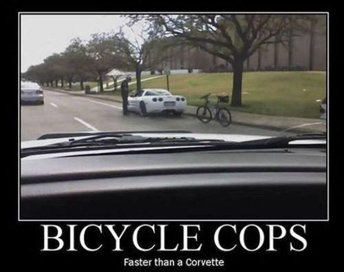 bicycle corvette cops funny - 7908188928