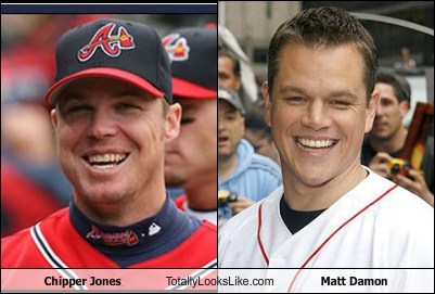 funny,totally looks like,matt damon,chipper jones
