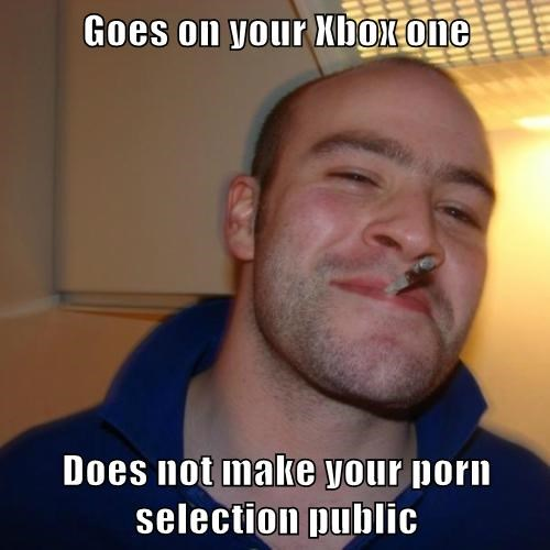 Goes on your Xbox one  Does not make your pr0n selection public