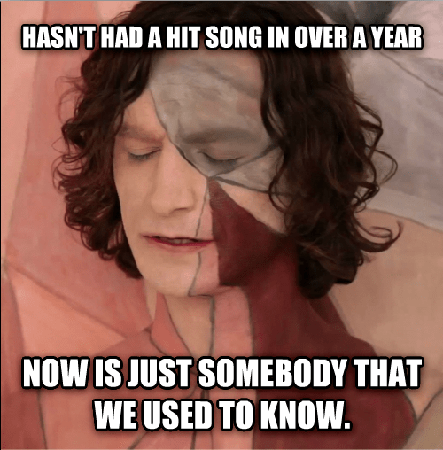 somebody that i used to know,gotye,irony