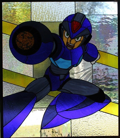 funny nerdgasm video games mega man stained glass