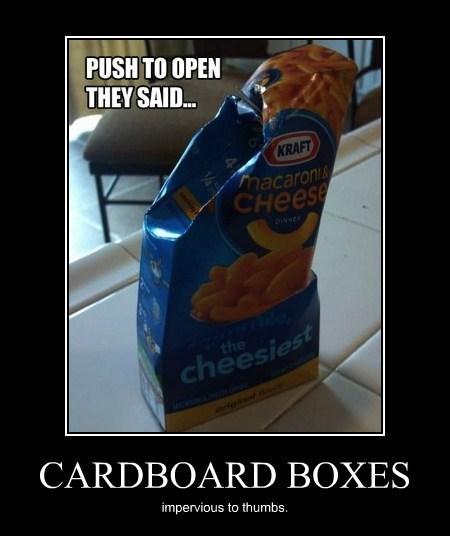 box cardboard push funny kraft mac & cheese