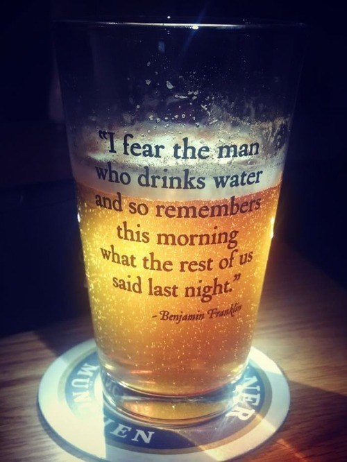 Benjamin Franklin drunk funny pint glass