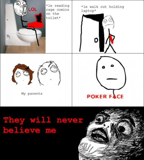 Awkward,laptops,parents,poker face,reading rage comics