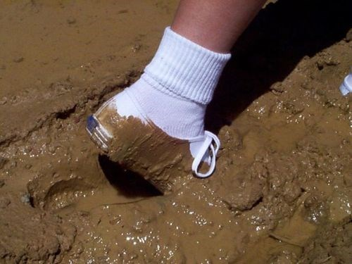 mud,shoes,white
