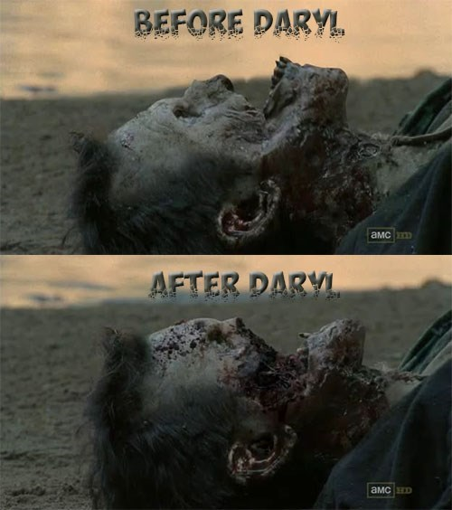 daryl dixon,face melt,zombie