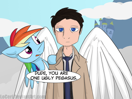 castiel,Fan Art,mashup,Supernatural,rainbow dash
