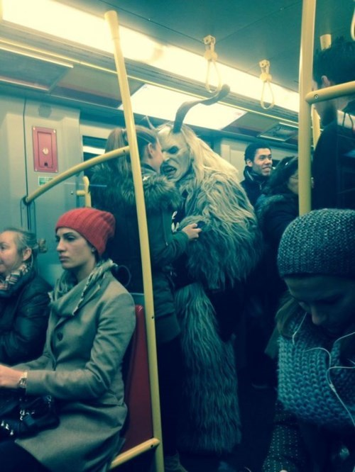 creepy,funny,krampus,what,public transit