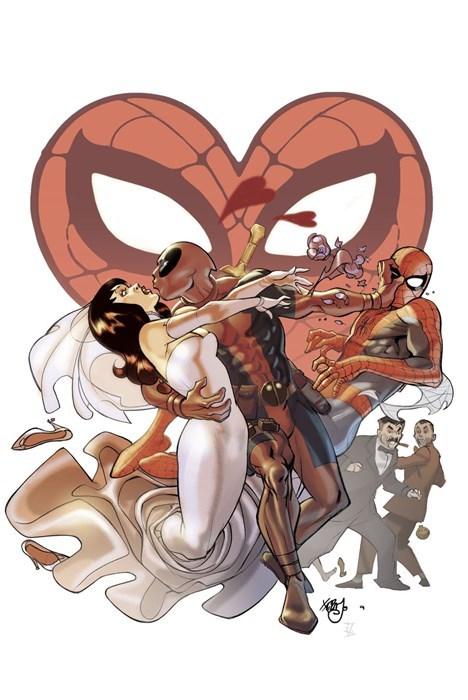 deadpool Spider-Man wedding mary jane green - 7913231104