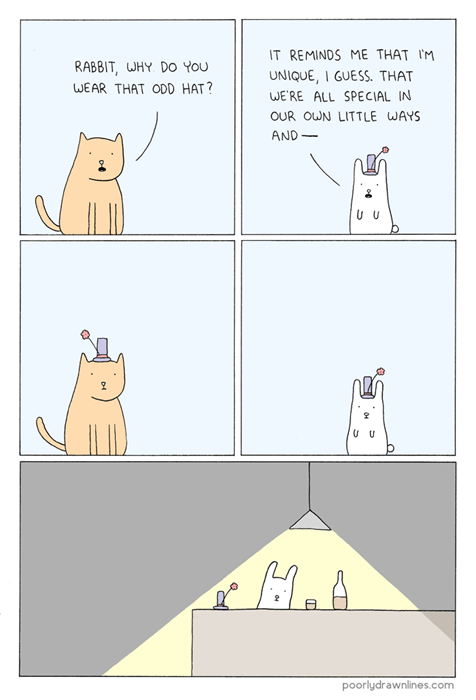 Cats,critters,rabbits,web comics,odd hat