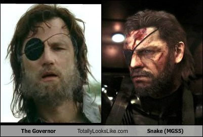 totally looks like solid snake the governor mgss