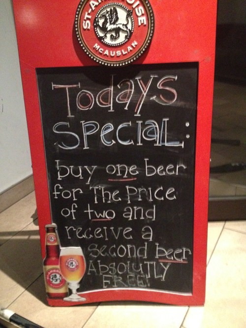 beer,alcohol,deals,two for one,restaurant signs