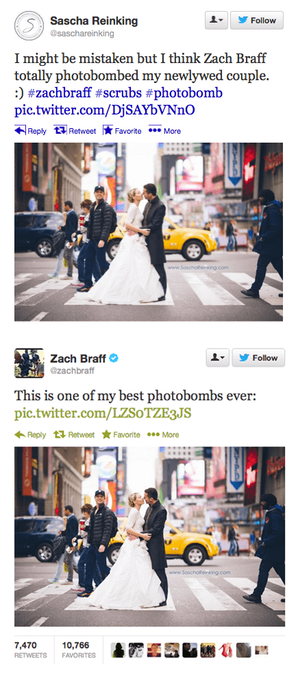 photobomb,marriage,Times Square,wedding,Zach Braff,wedding photos,failbook,g rated