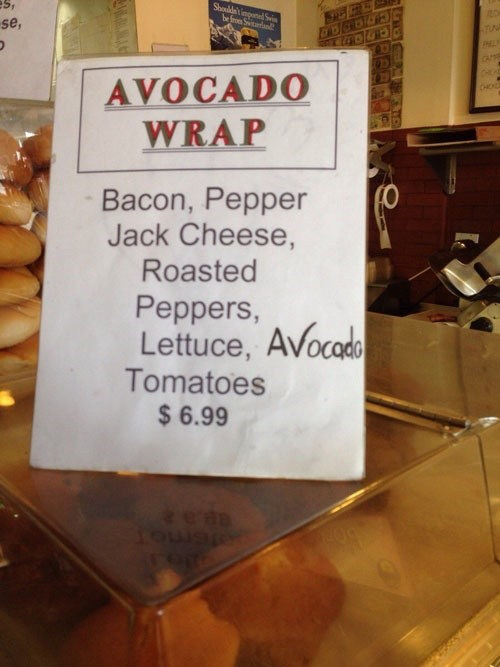 sandwiches,avocado wrap,avocadoes,monday thru friday,g rated
