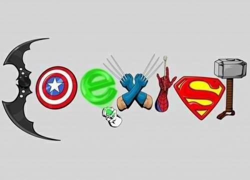 bumper stickers,coexist,superheroes