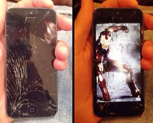 iphone,cracked screen,iron man