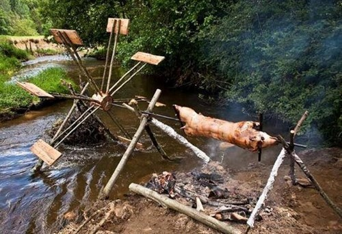pig,there I fixed it,rotisserie,water wheel,cooking,g rated