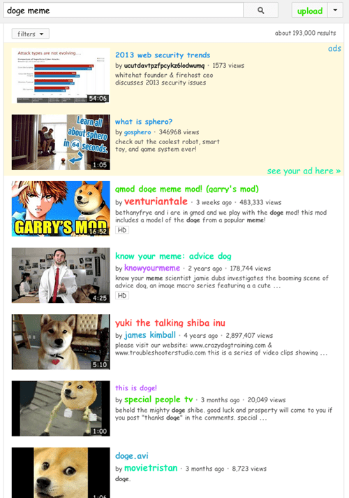 search the internets youtube doge